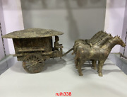 Old China Antique Bronze Horse Vehicle Character Statue