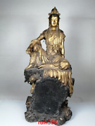 Old China Antique Qing Dynasty Red Copper Gold Plating Guanyin Buddha Statue Sta