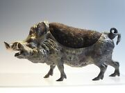 Large Cold Painted Bronze Boar Pin Cushion.