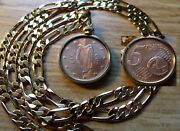 2007 Irish Euro Pence Copper Mint Coin Pendant On A 24 18k Gold Filled Chain