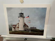 David Knowlton Rare Hand Signed S/n Chatham Lighthouse Print 16x13 Never Framed