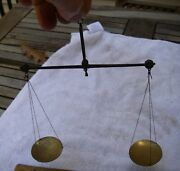Nice Antique Gold Scales-handmade Steel Arm-brass Pans-nr