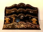 Antique Lacquered Wood And Inlaid Abalone Desk Letter Organizer + Painted Inkwells