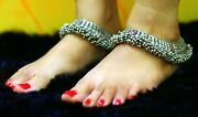 Fabulous Tiny Bells Old Antique Silver Old Anklet Feet Bracelet Ankle Chain