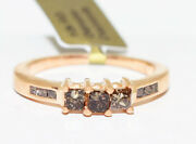 Genuine 1.05 Cts Champagne Diamond Ring 10k Rose Gold Free Appraisal Service