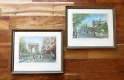 Pair Mid Century Vargas Prints Of Paris Framed Signed Notre Dame Champs Elysee