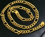 Authentic 22kt Gold Fabulous Figaro Link Chain Necklace Stylish Jewelry Ch173