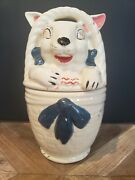 Vintage Easter Cookie Jar American Bisque Pottery Bunny Rabbit In A Basket