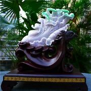 Superb Natural Burma Jadeite Jade Home Feng Shui Wealth Chinese Cabbage Statue