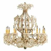 Gilt Iron 12-light Chandelier With Great Crystal And Bead Decoration 40x40