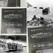 Rare Wwii 1942 Classified British D-day Landing Craft Hsc Blueprint Lot Relic
