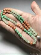 Emerald Floral Green/red/icy Jadeite Jade 81-bead Necklace 18k White Gold Clasp