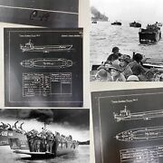 Rare Wwii 1942 Classified British D-day Landing Craft Tlc Blueprint Lot Relic
