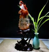 12and039and039 Natural 100 Rock Crystal Quartz Home Feng Shui Pair Birds Crane Statue