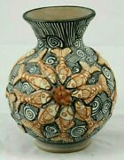 Lg Ceramic Vase/raised Fish Mexican Fine Art Pottery Collectible Bas Relief