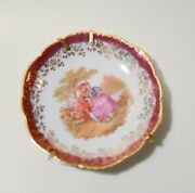 Pair Of Small Miniature Limoges France Porcelain Plates Fuchsia Gold Marked