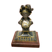 19th C French Silvered Bronze Figural Seal With Marble Base