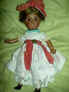 Charming Antique, Brown Bisque Doll, Sgnd. Unis 60 France Jointed W/glass Eyes