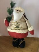 Country Santa Clause Large Stand Alone Light Weight Farmhouse Decor Stuffed 18