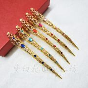 5 Pcs Chinese Golden Long Nail Prop Dancing Rhinestone Stage Nails Covers Decor