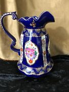 Asian Style Cobalt Hand Painted Flowers W/ Heavy Gold Moriage 12 1/2 Pitcher