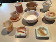 Collection Of Akro Agate Glassware Orange Swirl Pattern Excellent Condition