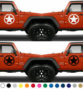 Set Of 2 American Us Tattered Distressed Army Star Vinyl Decal Door Sticker V7