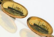 Antique Gold Filled Nautical Scene Cruise Ship Two Smoke Stacks Menand039s Cufflinks
