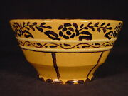 Extremely Rare Antique 1800s Signed And Ornately Decorated Tea Bowl Yellow Ware