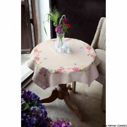 Vervaco Tablecloth Stitch Embroidery Kit Kit Pink Flowers And Butterflies Stamp