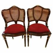Pair Of Fine Bronze-mounted Louis Xvi Style Dining Chairs Manner Of Jansen