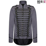 Ro Rox Mens Gothic Tailcoat Emo Punk Parade Jacket Marching Band Drummer Costume