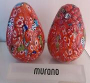 Murano Fratelli Toso Set Of Hollow Millefiori Glass Paperweights