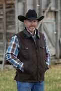 Wyoming Traders Mens Oil Skin Concealed Carry Zip Up Canvas Ranch Wear Vest