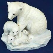 Homco Masterpiece Porcelain Endangered Species Polar Bears 1993. With Wood Base