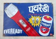 Vintage Eveready Torch Advertisement Porcelain Enamel Sign Board Collectible