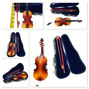 Vintage Miniature Violin And Bow In Hard Case Velvet Lined