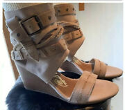 Naughty Monkey Strapped Wedges, Tan Suede Shoes With Buckles Size 6