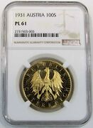 1931 Gold Austria 100 Shilling Coin Ngc Mint State 61 Proof Like