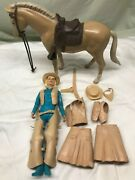 Vintage Marx Johnny West Jane West Figure And Horse Accessory Nice