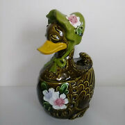 Vintage Mother Goose Duck Cookie Jar Green With Bonnet And Flowers