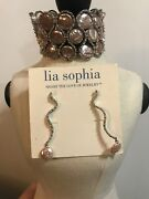 Lia Sophia Kiam Family Collection 2006 Pearl And Cz Bracelet And Earrings Rv343