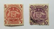 Australian Stamps Coat Of Arms 1949 - 1950 Set Of 2 5/ + 10/ Shillings