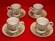 Mikasa Stylemanor Dune Grass Fd832 Lot Of 4 Cups And Saucers Perfect Cond.