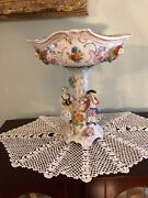 Antique German Carl Thieme Dresden Figural Roses Porcelain Reticulated Compote