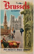 Original Vintage Poster - Brussels By Clipper - Panam - Boeing - Aviation - 1951