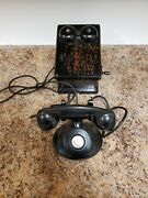 1940and039s Western Electric E1 Handle Black No Dial Cradle Phone With Wall Crank Box