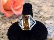 14k White Gold Top Gem Quality Natural Yellow Zircon And Diamond Ring Size 7.5