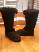 Uggs Australia Boots Womens Black Suede Boots Size 7 Very Nice Condition Freeshp