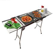 Stainless Barbecue Grill Charcoal Folding Stove Camp Outdoor Large Stable Burner